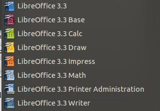 LibreOffice en el menú de gnome