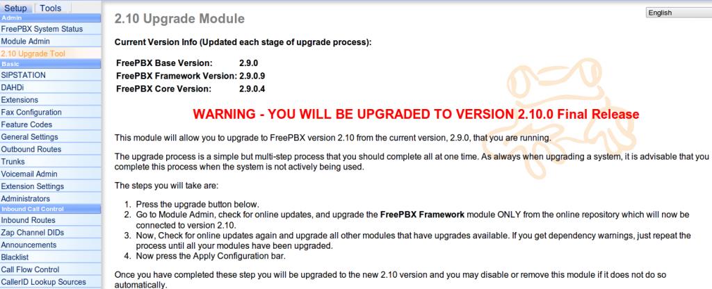 upgradeFreePBX2.10