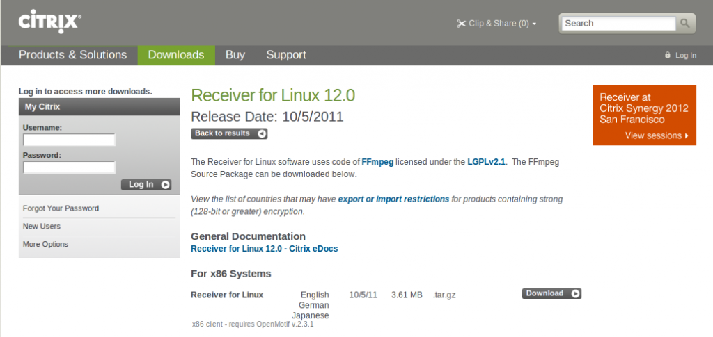 Citrix Receiver for linux