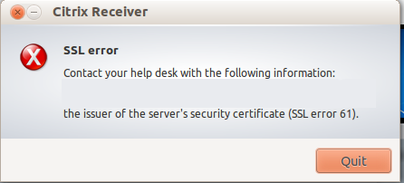 Citrix Receiver SSL Error 61