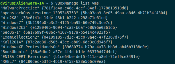 VBoxManage list vms